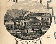 French De Lisle house, New York 1855 Old Town Map Custom Print - Broome Co.