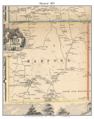 Harford, New York 1855 Old Town Map Custom Print - Cortland Co.