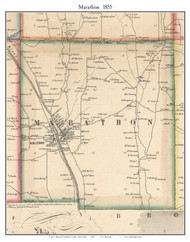 Marathon, New York 1855 Old Town Map Custom Print - Cortland Co.