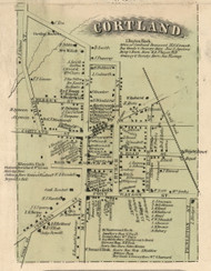 Cortland VIllage, New York 1855 Old Town Map Custom Print - Cortland Co.