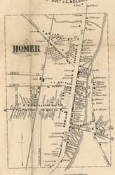 Homer Village, New York 1855 Old Town Map Custom Print - Cortland Co.