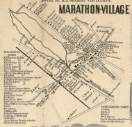 Marathon Village, New York 1855 Old Town Map Custom Print - Cortland Co.