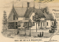 Res. of G.N. Woodward, New York 1855 Old Town Map Custom Print - Cortland Co.