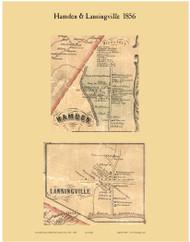 Hamden and Lansingville, New York 1856 Old Town Map Custom Print - Delaware Co.