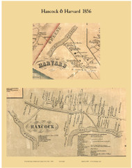 Hancock and Harvard, New York 1856 Old Town Map Custom Print - Delaware Co.