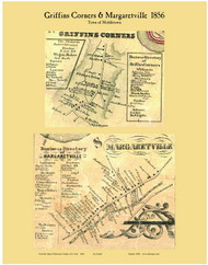 Griffins Corners and Margaretville, New York 1856 Old Town Map Custom Print - Delaware Co.