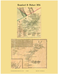 Stamford and Hobart, New York 1856 Old Town Map Custom Print - Delaware Co.