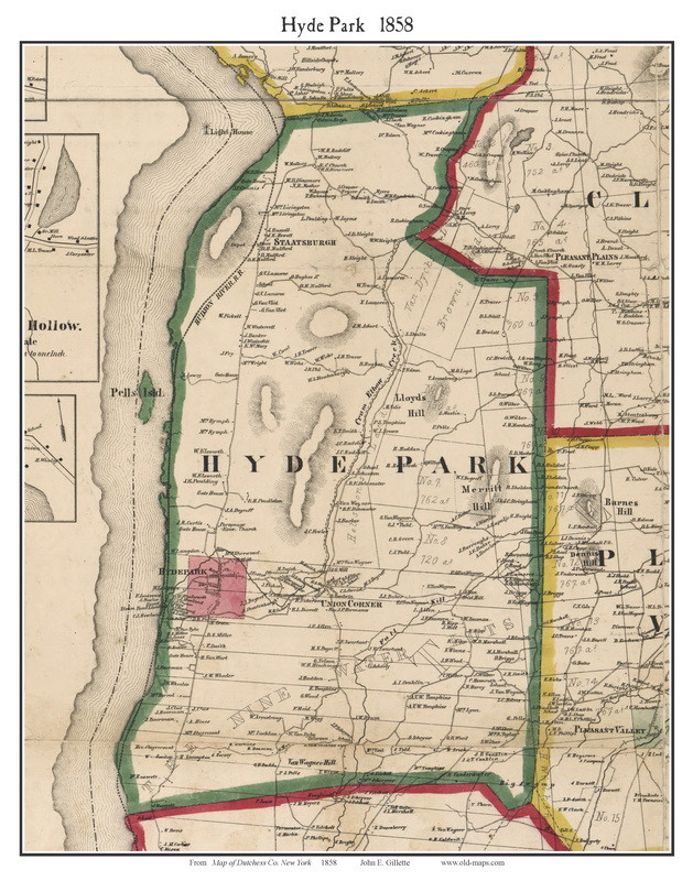 Hyde Park Ny Map Hyde Park, New York 1858 Old Town Map Custom Print   Dutchess Co