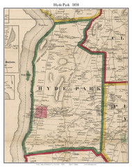 Hyde Park, New York 1858 Old Town Map Custom Print - Dutchess Co.
