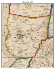 Rhinebeck, New York 1858 Old Town Map Custom Print - Dutchess Co.