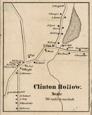 Clinton Hollow, New York 1858 Old Town Map Custom Print - Dutchess Co.