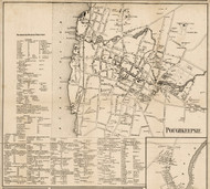 Poughkeepsie Village, New York 1858 Old Town Map Custom Print - Dutchess Co.