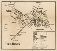 Red Hook Village, New York 1858 Old Town Map Custom Print - Dutchess Co.