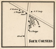 Four Corners, New York 1858 Old Town Map Custom Print - Dutchess Co.