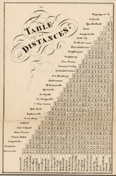 Table of Distances, New York 1858 Old Town Map Custom Print - Dutchess Co.