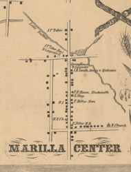 Marilla Center, New York 1855 Old Town Map Custom Print - Erie Co.