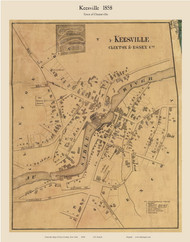Keesville, New York 1858 Old Town Map Custom Print - Essex Co.