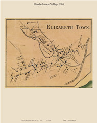 Elizabethtown Village, New York 1858 Old Town Map Custom Print - Essex Co.