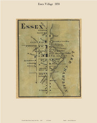 Essex Village, New York 1858 Old Town Map Custom Print - Essex Co.