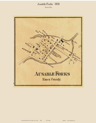 Ausable Forks Village, New York 1858 Old Town Map Custom Print - Essex Co.