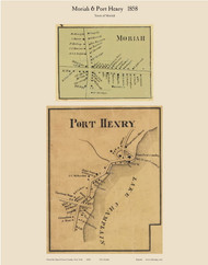 Moriah & Port Henry Villages, New York 1858 Old Town Map Custom Print - Essex Co.