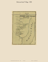 Schroon Lake Villiage, New York 1858 Old Town Map Custom Print - Essex Co.