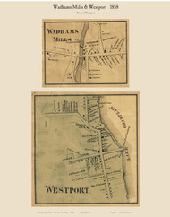 Westport Village & Wadham Mills, New York 1858 Old Town Map Custom Print - Essex Co.