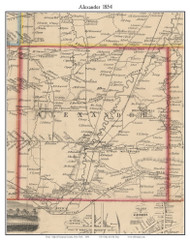 Alexander, New York 1854 Old Town Map Custom Print - Genesee Co.