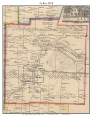 LeRoy, New York 1854 Old Town Map Custom Print - Genesee Co.