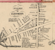Alexander Village, New York 1854 Old Town Map Custom Print - Genesee Co.