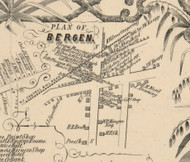 Bergen Village, New York 1854 Old Town Map Custom Print - Genesee Co.
