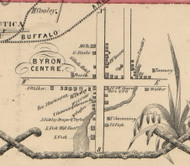 Byron Centre, New York 1854 Old Town Map Custom Print - Genesee Co.