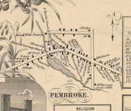 Pembroke Village, New York 1854 Old Town Map Custom Print - Genesee Co.