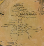 Greenville Village, New York 1856 Old Town Map Custom Print - Greene Co.