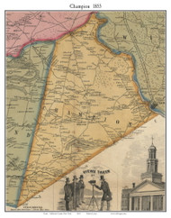 Champion, New York 1855 Old Town Map Custom Print - Jefferson Co.