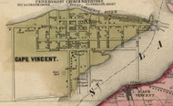 Cape Vincent Village, New York 1855 Old Town Map Custom Print - Jefferson Co.