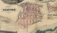 Clayton Village, New York 1855 Old Town Map Custom Print - Jefferson Co.