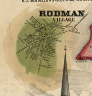 Rodman Village, New York 1855 Old Town Map Custom Print - Jefferson Co.