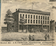 Crowner House, New York 1855 Old Town Map Custom Print - Jefferson Co.