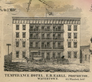 Temperance Hotel, New York 1855 Old Town Map Custom Print - Jefferson Co.
