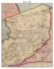 Jamaica, New York 1859 Old Town Map Custom Print - Queens Co.