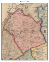 Newtown, New York 1859 Old Town Map Custom Print - Queens Co.