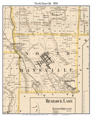 North Dansville, New York 1858 Old Town Map Custom Print - Livingston Co.