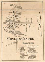 Conesus Centre, New York 1858 Old Town Map Custom Print - Livingston Co.