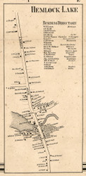 Hemlock Lake, New York 1858 Old Town Map Custom Print - Livingston Co.