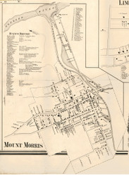 Mount Morris Village, New York 1858 Old Town Map Custom Print - Livingston Co.