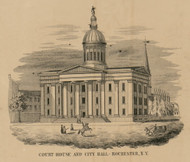 Court House and City Hall, New York 1852 Old Town Map Custom Print - Monroe Co.