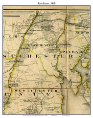 Eastchester (partial), New York 1860 Old Town Map Custom Print - NYC Environs