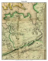 Flushing (partial), New York 1860 Old Town Map Custom Print - NYC Environs