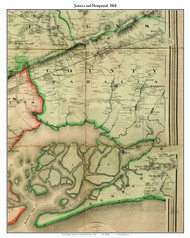 Jamaica and Hempstead (partial), New York 1860 Old Town Map Custom Print - NYC Environs